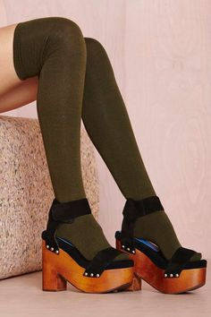 Prepster Thigh High - Olive | Shop Accessories at Nasty Gal!