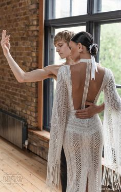 lior charchy 2019 bridal long split sleeves high neckline side cutouts heavily embellished lace sheath wedding dress boho chic modern romantic illusion cutout back bv -- Gorgeous Lior Charchy Wedding Dresses Wedding Dress Styles, Boho Wedding Dress, Bridal Gowns, Wedding Gowns, W Dresses, Bridal Fashion Week, Glamorous Wedding, Bridal Style, Boho Chic