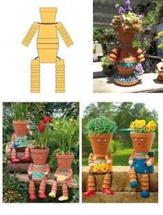 #DIY clay pot flower people for your garden --> http://wonderfuldiy.com/wonderful-diy-clay-pot-flower-people/ #diy #gardening