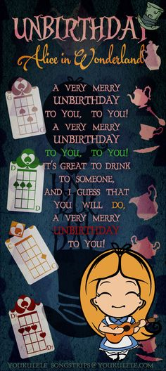 Alice in wonderland - Ukulele Capo 2 Cool Ukulele, Ukulele Tabs, Alice And Wonderland Quotes, Alice In Wonderland Party, Disney Songs, Disney Quotes, Uke Songs, Ukulele Songs Disney, Happy Unbirthday