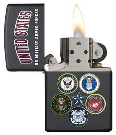 Shop the Official Zippo Store! Military with this lighter featuring the seals of all the branches. Zippo Limited Edition, Cool Lighters, Zippo Lighter, Armed Forces, Smoking, Military, The Unit, Camping, Accessories