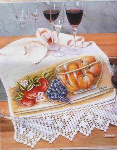 MIRIA CROCHÊS E PINTURAS: PANO DE COPA SALADA DE FRUTA Lupe, Fabric Painting, Crochet, Diy And Crafts, Ethnic Recipes, Food, Dish Towels, Fruit Painting, Fabrics