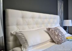 diy tufted headboard, bedroom ideas, diy, how to, painted furniture