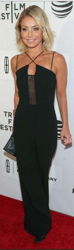Who made  Kelly Ripa's black mesh cross jumpsuit?