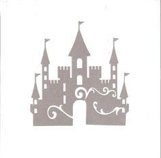decorative castle silhouette in shimmering silver