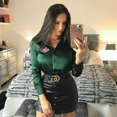 Amateur selfie in bedroom black leather miniskirt and green satin blouse