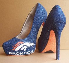 Denver Broncos high heals for any woman who is a fan http://www.econoautosale.com/