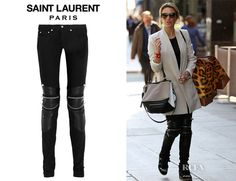 Alex Gerrard's Saint Laurent Leather-Paneled Skinny Jeans