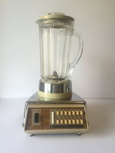 Vintage Blender Waring Retro Barware Chrome Gold Solid State Cream