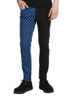 Royal Bones Split Leg Black And Blue Checkered Skinny Jeans   Hot Topic