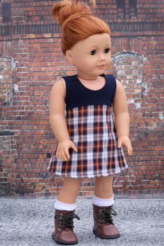 Navy plaid sleeveless a-line dress by Closet4Chloe on Etsy. Made with the Tri-City Knit pattern, available here http://www.pixiefaire.com/products/tri-city-knit-18-doll-clothes. #pixiefaire #tricityknit