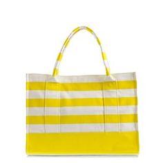 Yellow stripe beach tote