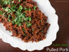 All you barbecue lovers are in for a treat because this Paleo Indian-Style Pulled Pork is going to be unlike any barbecued pulled pork you've had before. Like all great barbecue, the secret is in the sauce. This tender, slow-cooked meat… [read more] Bison Recipes, Primal Recipes, Pork Recipes, Indian Food Recipes, Whole Food Recipes, Healthy Recipes, Cooker Recipes, Real Food Cafe, Barbecue Pulled Pork