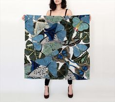 Blue Butterflies Silk Scarf  ~ 100% silk scarf - accessories, colorful happy print  scarves, shawl, cover-up, mother, mom, blue and black