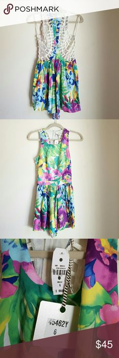 1 HOUR SALE! LF Angel Biba caged romper Australian New with tags  LF Stores australian designer Angel Biba caged back floral bohemian romper. Size 6, multicolor combo.   Perfect little romper to show your sexy back or strappy bralettes.   Retail for 158 before tax. Grab it here for less.     - No trades. - Cool discounts on bundles **   #lfstores #bohemian #free #people #gipsy #hippie #festivals #lace #croptop #topshop #brandy #cage #cut LF Dresses Mini