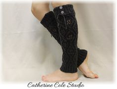 MADE IN USA .WONDERLAND Charcoal Grey knit legwarmers by LaceBootSocksbyCCole