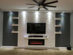 "40"" Recessed Electric Fireplace DIY Design Your Home with Confidence. Get it Now. Designed with front heating vent so that the unit can be flush mounted into wall Includes white stones and crystal Slim frame with life-like LED flames Heats up to 400 square feet"