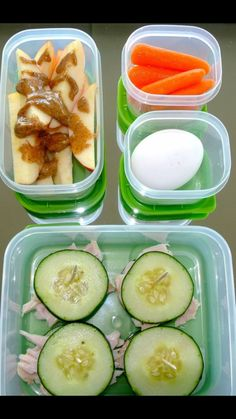 Apple slices with all natural pb Hard boiled egg Cucumber slices on bed of turkey  Carrots