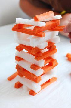 DIY Vegetable Jenga by handmadecharlotte - Such a stupid simple idea, love it.