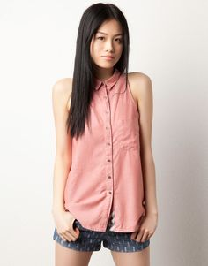 chambray open back top Chambray, Sleeveless Denim Shirts, Coral, Peach, Style Inspiration, My Style, Pink, Outfits, Clothes