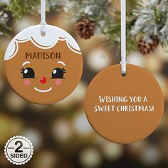 The Gingerbread Character Personalized Glossy Christmas Ornament creates a unique gift for any little one this Christmas season. The ornament may be personalized with a choice of character, any name and up to 4 message lines on the back. Diy Christmas Light Decorations, Christmas Table Centerpieces, Personalized Christmas Ornaments, Ornaments Ideas, Wood Ornaments, Pallet Christmas, Burlap Christmas, Diy Christmas Tree, Christmas Desserts