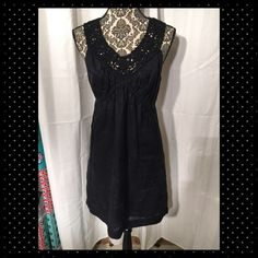 Adorable black linen dress. Black linen dress with amazing detail on the neckline. Worn a few times. In excellent condition. Max Studio Dresses Midi