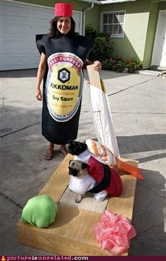 Winner of my personal favorite pug costume ever in the history of the world. Classic- even with wasabi.