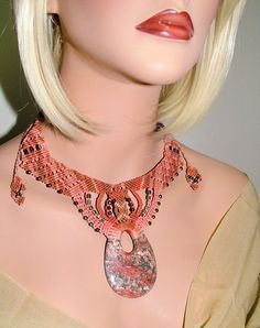 Leopard Skin Teardrop Pendant Beaded Macrame Authentic USA Handcrafted Choker #GermysCreation #ChokerNecklace