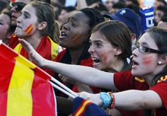 Spain's fans watch the Euro 2012 soccer championship Group C match between Spain and Italy.