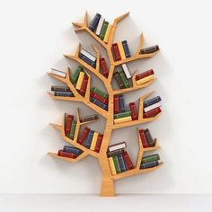 Awesome And Genius Tree Bookshelf Design And Styling Ideas Diy Bookshelf Design, Creative Bookshelves, Shelving Design, Bookcase Decorating, Decorating Ideas, Tree Bookshelf, Tree Shelf, Tree Book Shelves, Bookshelves On Wall