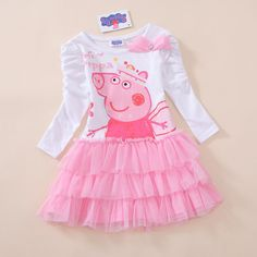 Peppa pig girls beautiful tu tu frill party dress