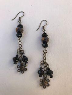 Black Swarovski Beads,Bronze Swarovski Beads,Bronze Flower,Wire Earrings #Handmade #DropDangle
