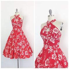 50s Red & White Hawaiian Kamehameha Dress / by CheshireVintageShop