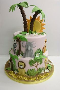 Go wild with our jungle dessert table! This tasty range of jungle themed custom dessert table treats is perfect for birthdays, christenings or themed party. Jungle Birthday Cakes, Jungle Theme Cakes, Safari Cakes, First Birthday Cakes, Safari Baby Shower Cake, Baby Shower Cakes, Safari Party, Gateau Baby Shower Garcon, Animal Cakes