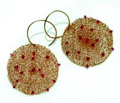 Gold spinel earrings by Rina Tairo
