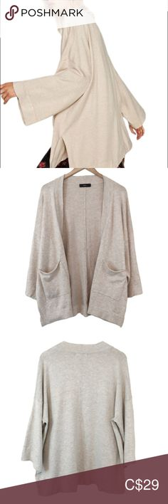 Size M NWT Zara TEXTURED HOODED JACKET CARDIGAN OVERSIZE POCKETS COAT BLAZER