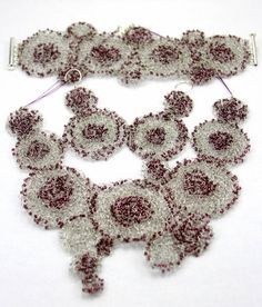images of wire crochet jewelry | Purple beads wire crocheted jwelry set ... | My wire crochet jewelry