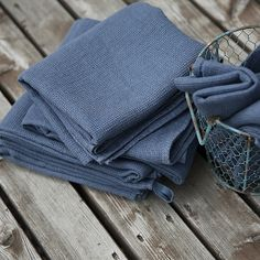 Set of 2 Blue Linen Waffle Hand Towels Washed