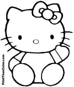 hello kitty coloring pages to print - Kitty Coloring Page