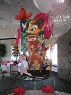 Our themed centerpieces are custom designed to reflect your style and interests. They can be as simple as adding a little theme to a balloon arrangement or building a diorama using photos, accessories and themed cutouts. Disney Centerpieces, Table Centerpieces, Centrepieces, Centerpiece Ideas, Bambi, Diorama, Girl Birthday, Birthday Parties, First Birthday Balloons