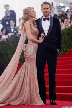 Blake Lively in Gucci Première at the 2014 Met Gala with hubby Ryan Reynolds