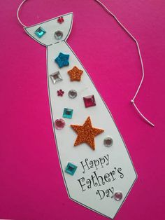 we made these... FATHER'S DAY TIES... using a simple tie template from Pinterest print out on white or coloured card (you could add your own wording) or just cut out your own tie shape. Decorate with stickers and jewels. Attach a length of thin elastic cord onto the back of the tie at the top to form a neck loop. It's safer to cellotape both ends onto the back, don't tie elastic ends together as could be choking hazard - for the kids, lol.