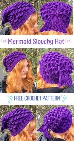 Want to make the holidays MAGICAL for someone on your gift list?  Then crochet this easy, fun mermaid slouchy hat for them!  The pattern is FREE and includes lots of photos to guide you!  Crochet it now using the free pattern on my blog!   mermaid crochet | crochet patterns | mermaid gift | stocking stuffers | diy christmas | diy gifts | easy crochet | free patterns Hat Patterns, Crochet Patterns For Scarves, Crochet Free Patterns, Free Crochet, Crochet Slouchy Hat, Crochet Beanie Pattern, Crochet Mermaid Pattern, Crocheted Hats, Beginner Crochet Projects