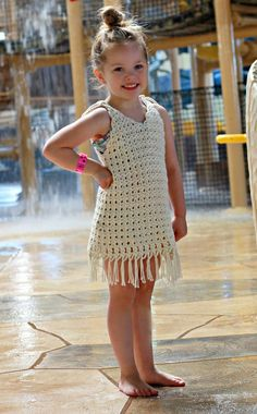 This pattern is written and designed by Crochet Garden. This fringe crochet cover-up is a must-have for kids this summer ~ sizes incl. up to 18 yrs. ~ easy to intermediate levels ~ PURCHASED pattern - CROCHET Crochet Toddler, Crochet Girls, Crochet For Kids, Crochet Borders, Crochet Stitches Patterns, Crochet Designs, Mobiles En Crochet, Crochet Mobile, Beau Crochet