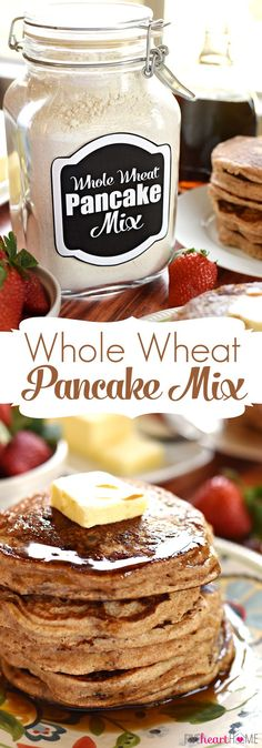Whole Wheat Pancake Mix keep a jar of this allnatural homemade mix in your pantry for a quick and easy breakfast of fluffy 100 whole wheat buttermilk pancakes Whole Wheat Pancakes, Pancakes And Waffles, Vegan Whole Wheat Pancake Recipe, Healthy Pancake Mix, Diy Pancake Mix, What's For Breakfast, Quick And Easy Breakfast, Breakfast Pancakes, Birthday Breakfast