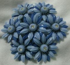 Vintage Blue Plastic Flower Brooch Pin by familycollectibles4U, $16.00