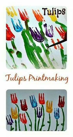 Spring Tulips Spring Art for kids all ages. Printmaking for toddlers through kinder age. Spring Projects, Spring Crafts, Projects For Kids, Art Projects, Easter Activities, Spring Activities, Art Activities, Toddler Art, Toddler Crafts