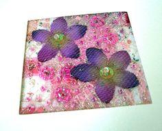 Purple silk flower art quilt card  stitched beaded by StitchMikki