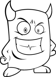 Monsters Coloring Pages For Kids 2016 Devil Horns