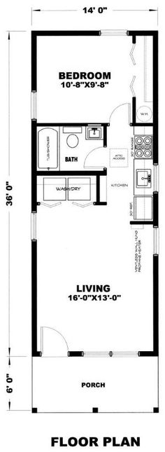 Cherokee Cabins l The Gander 14 X 36 Not completely sure I like the kitchen opposite the bathroom, but the rest works for me.
